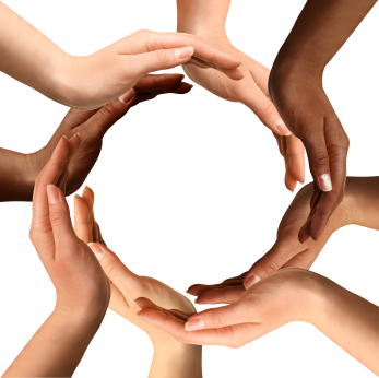 Conceptual symbol of multiracial human hands making a circle on white background with a copy space in the middle